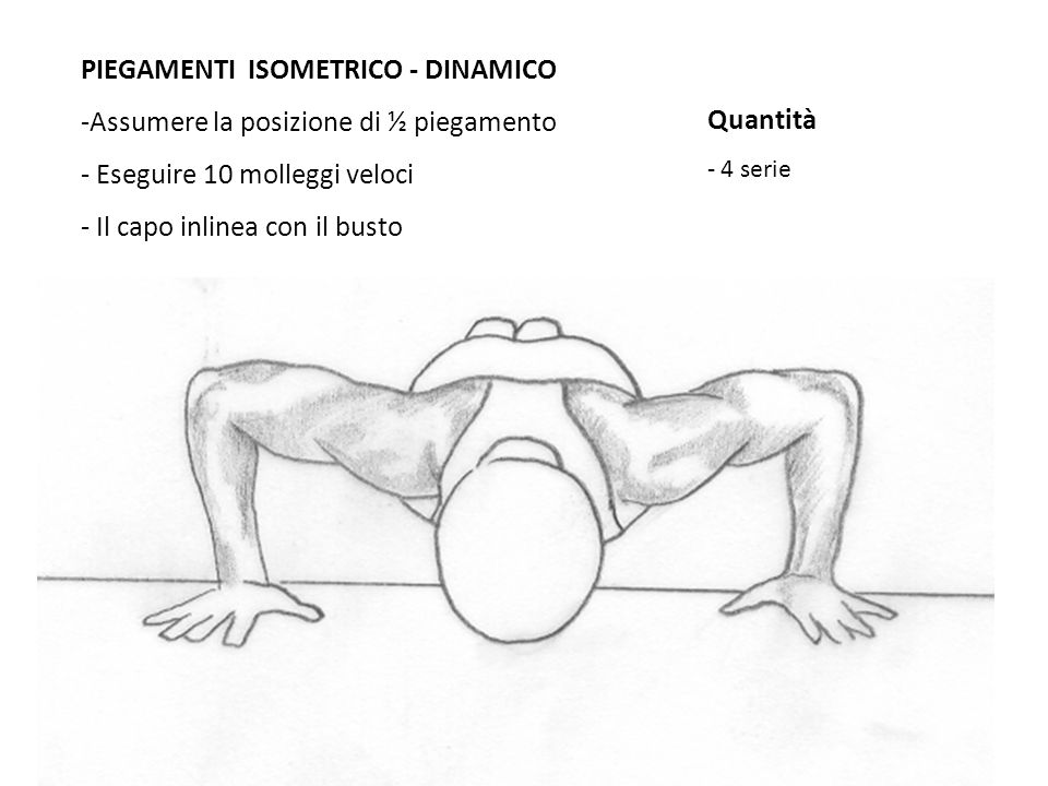 PIEGAMENTI ISOMETRICO - DINAMICO Assumere la posizione di ½ piegamento