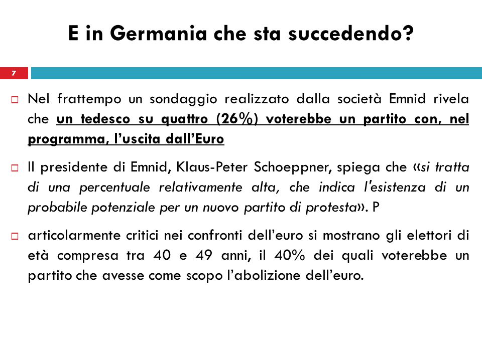 E in Germania che sta succedendo