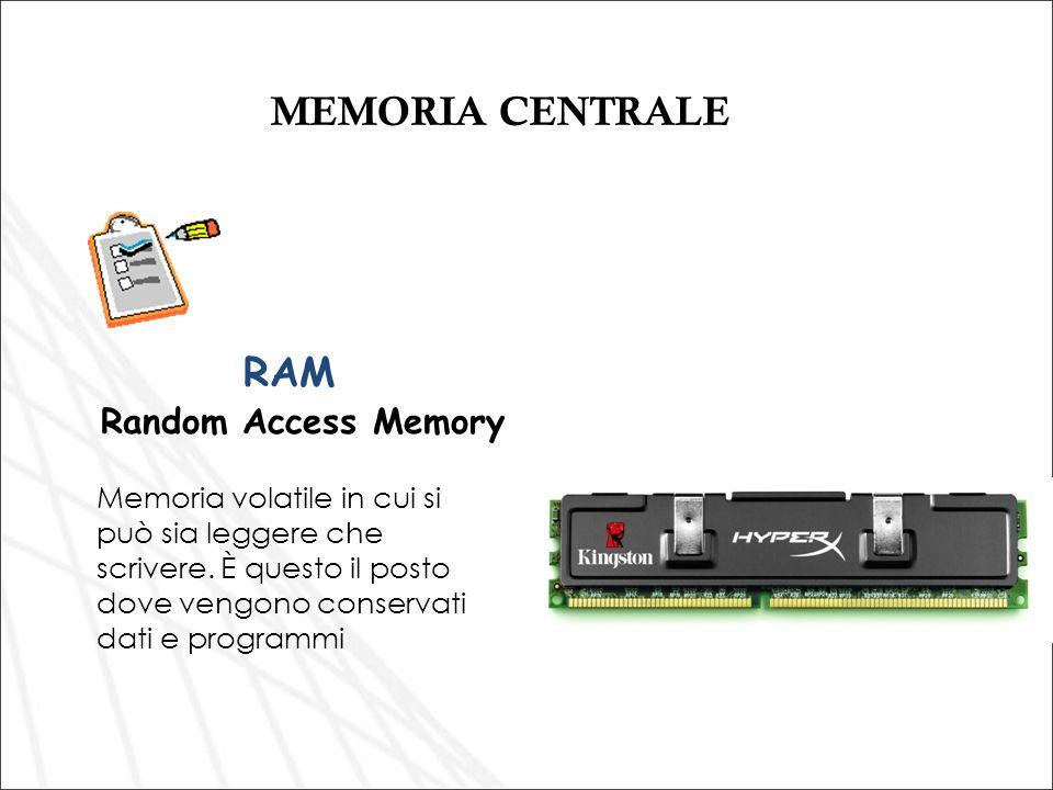 MEMORIA CENTRALE RAM Random Access Memory