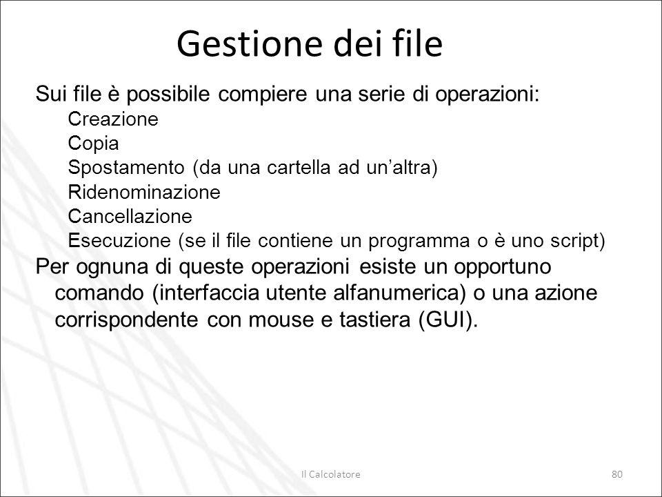 Gestione dei file Sui file è possibile compiere una serie di operazioni: Creazione. Copia. Spostamento (da una cartella ad un'altra)