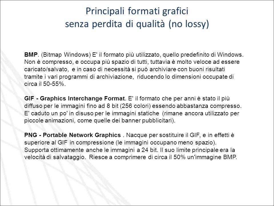 Principali formati grafici senza perdita di qualità (no lossy)