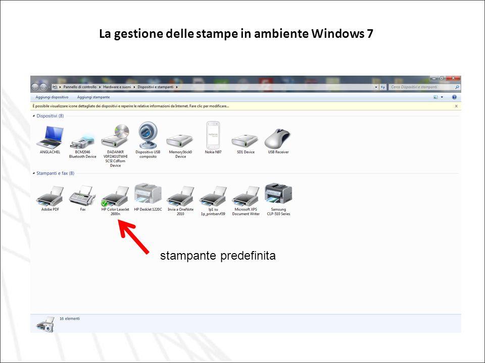 La gestione delle stampe in ambiente Windows 7