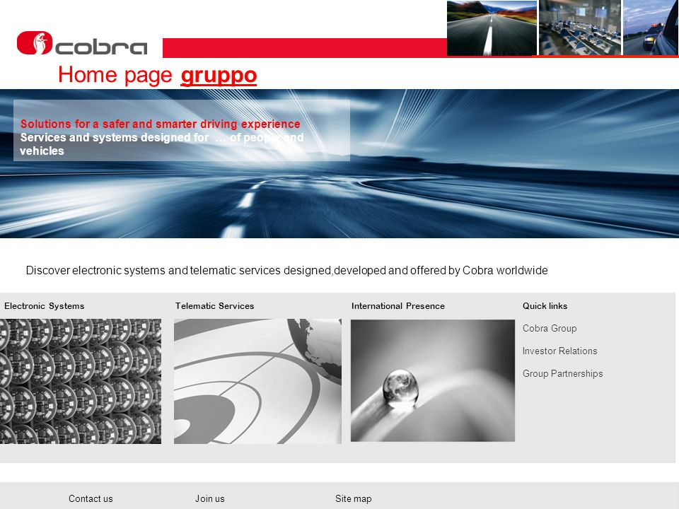 Home page gruppo Solutions for a safer and smarter driving experience