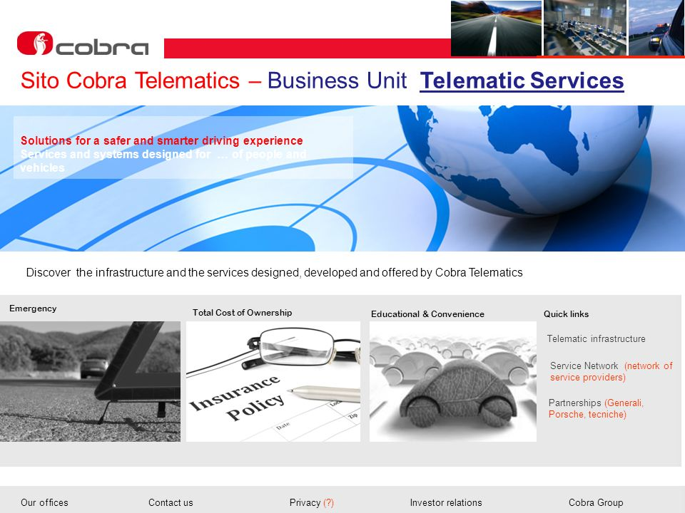 Sito Cobra Telematics – Business Unit Telematic Services