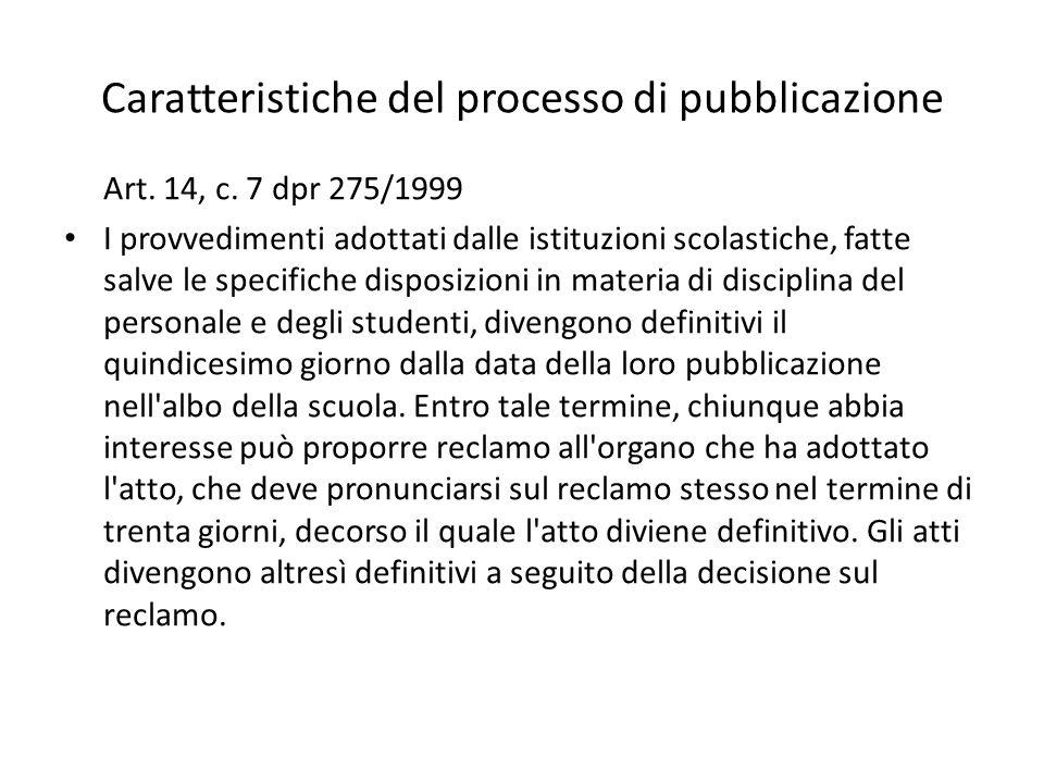 Caratteristiche del processo di pubblicazione