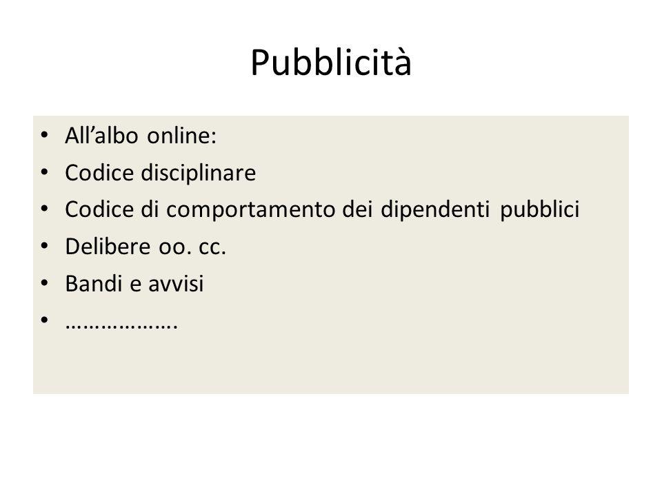 Pubblicità All'albo online: Codice disciplinare