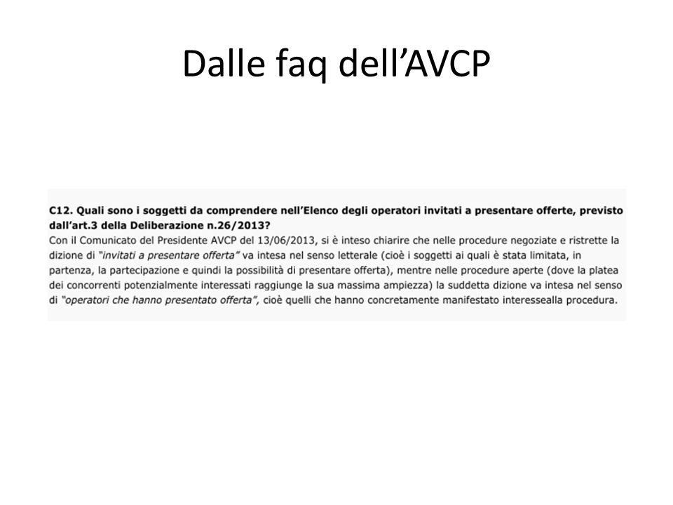 Dalle faq dell'AVCP