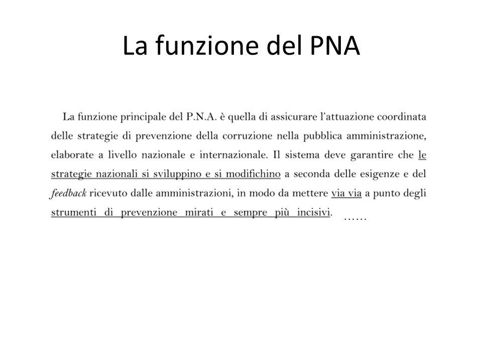 La funzione del PNA ……