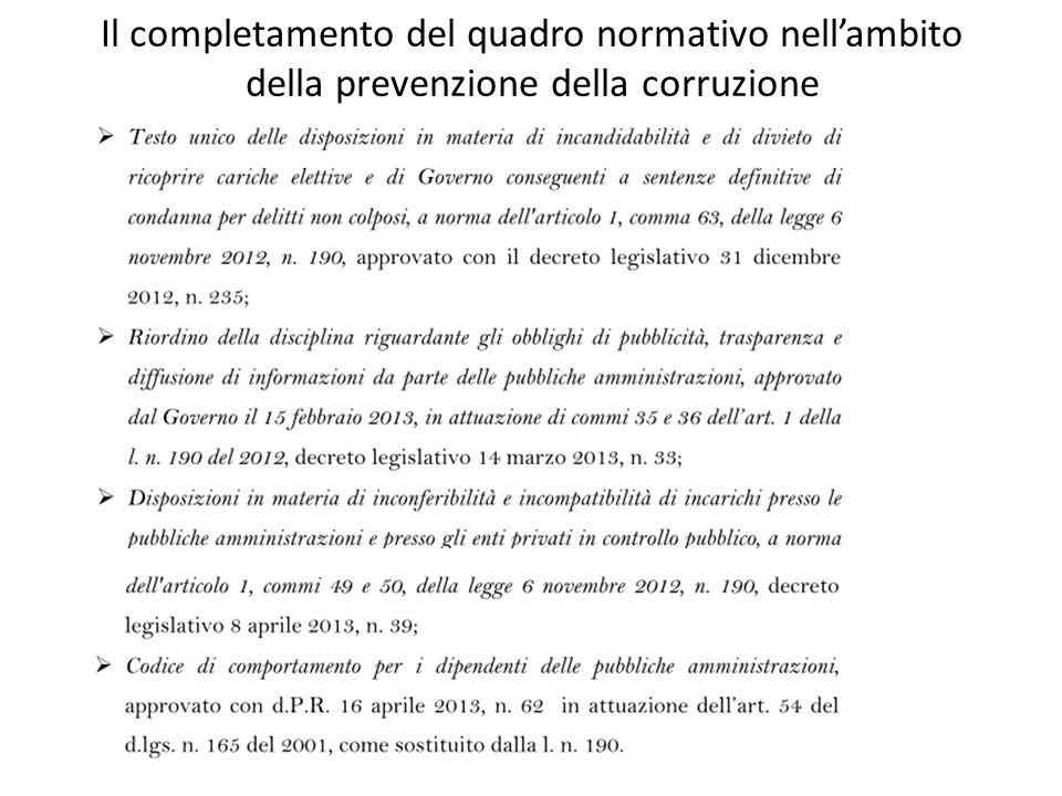 Il completamento del quadro normativo nell'ambito della prevenzione della corruzione