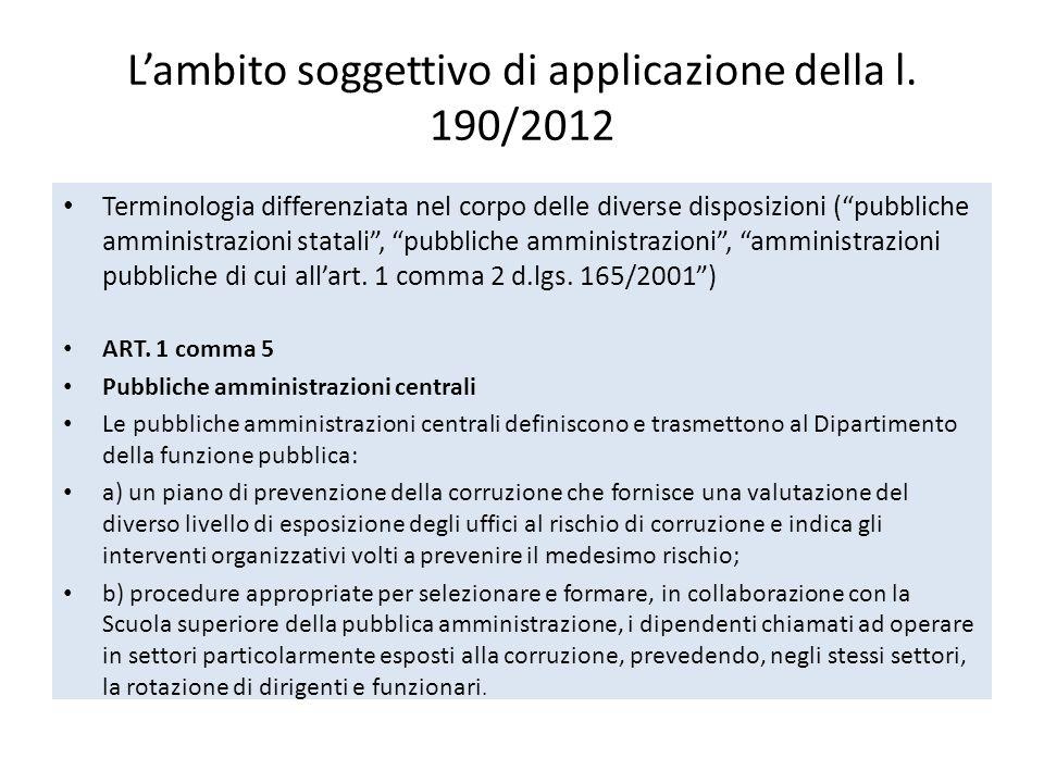 L'ambito soggettivo di applicazione della l. 190/2012