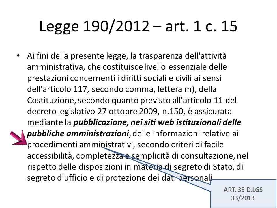 Legge 190/2012 – art. 1 c. 15