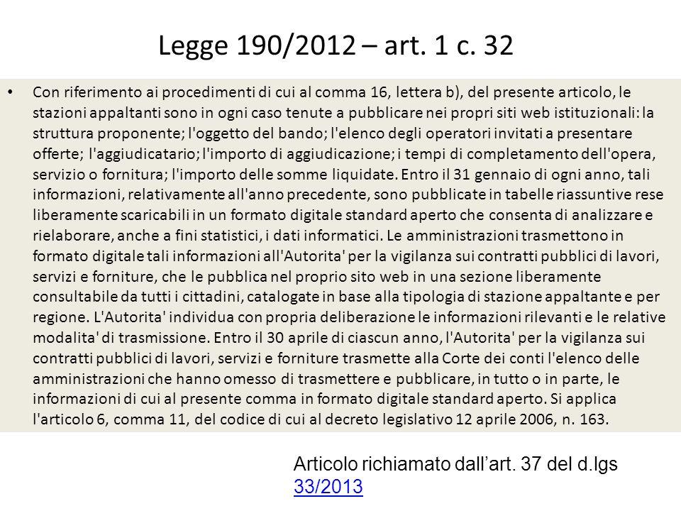 Legge 190/2012 – art. 1 c. 32