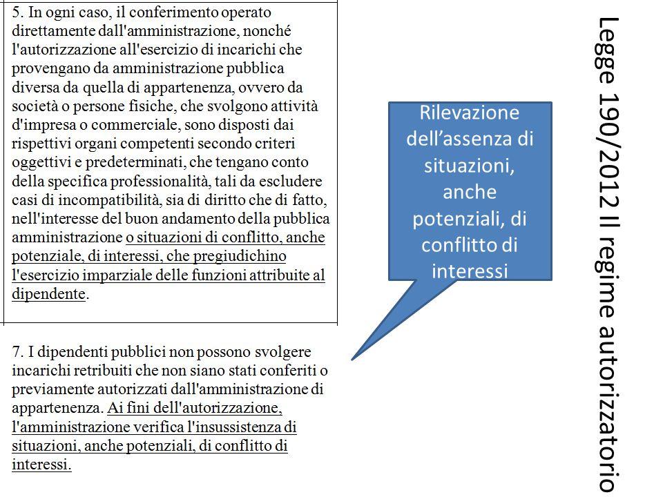 Legge 190/2012 Il regime autorizzatorio