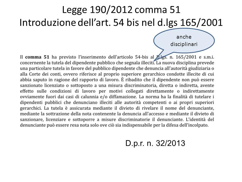 Legge 190/2012 comma 51 Introduzione dell'art. 54 bis nel d