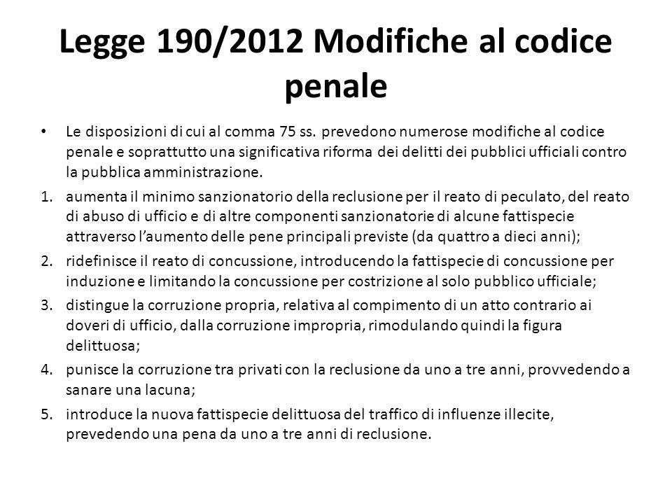 Legge 190/2012 Modifiche al codice penale