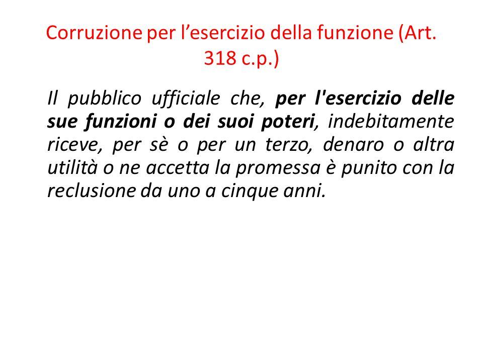 Corruzione per l'esercizio della funzione (Art. 318 c.p.)