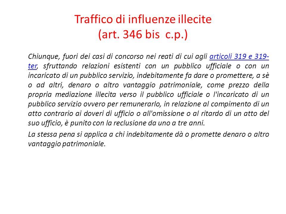 Traffico di influenze illecite (art. 346 bis c.p.)