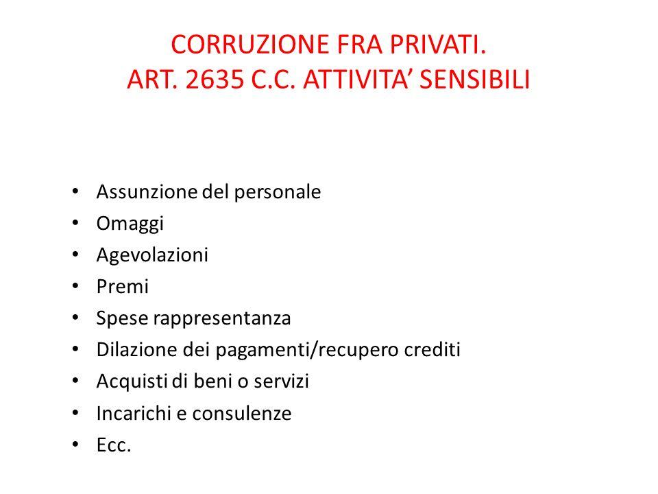 CORRUZIONE FRA PRIVATI. ART. 2635 C.C. ATTIVITA' SENSIBILI