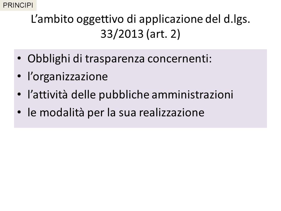 L'ambito oggettivo di applicazione del d.lgs. 33/2013 (art. 2)