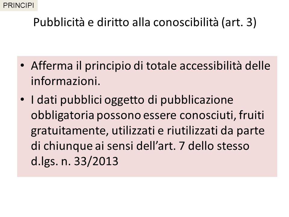 Pubblicità e diritto alla conoscibilità (art. 3)