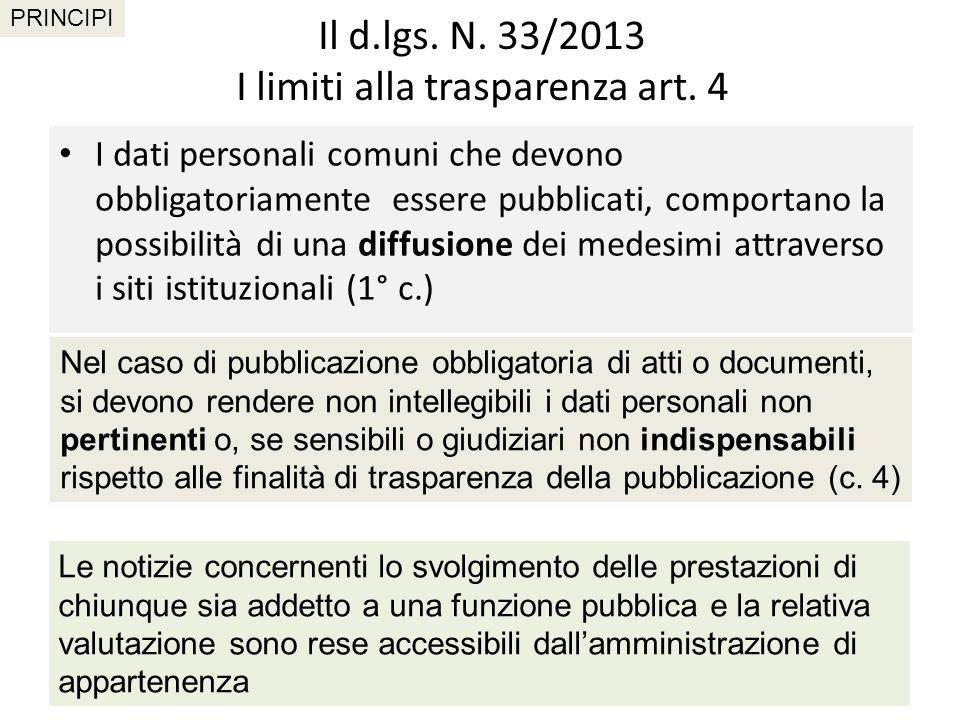 Il d.lgs. N. 33/2013 I limiti alla trasparenza art. 4