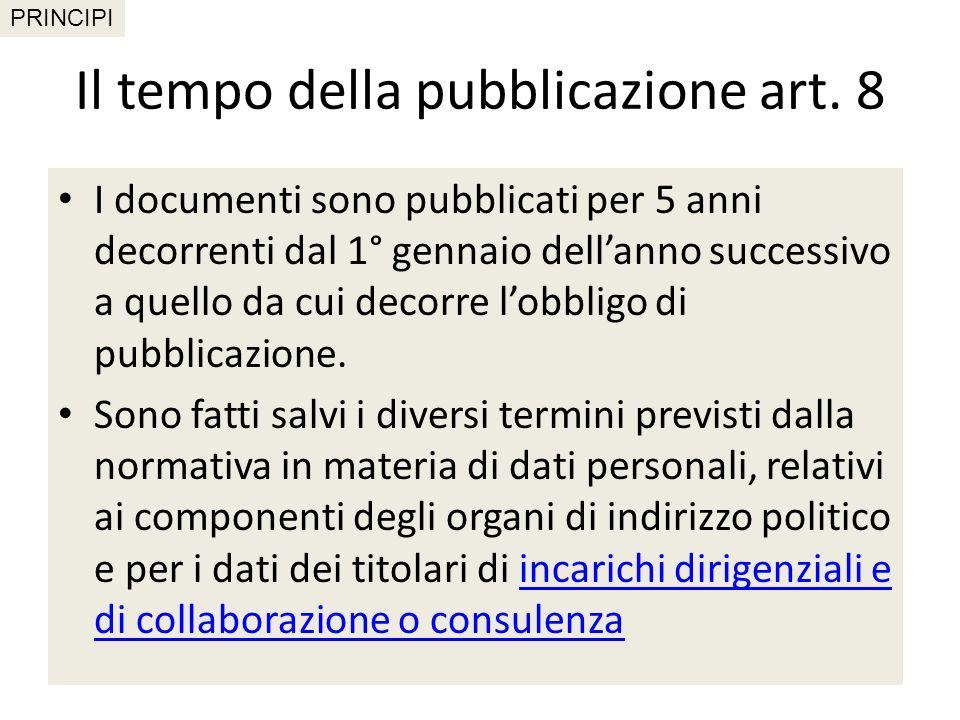 Il tempo della pubblicazione art. 8