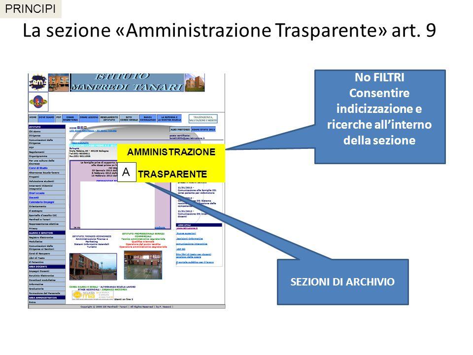 La sezione «Amministrazione Trasparente» art. 9