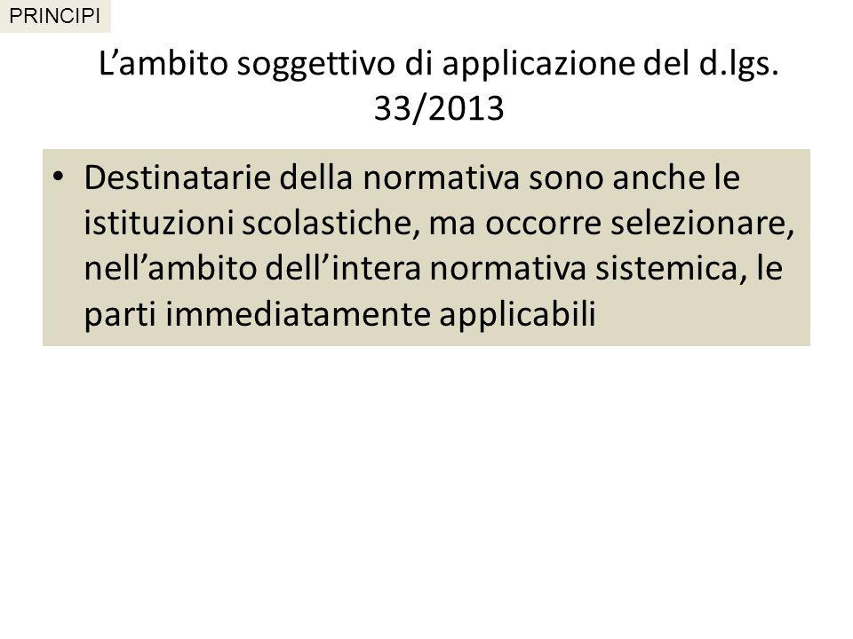L'ambito soggettivo di applicazione del d.lgs. 33/2013