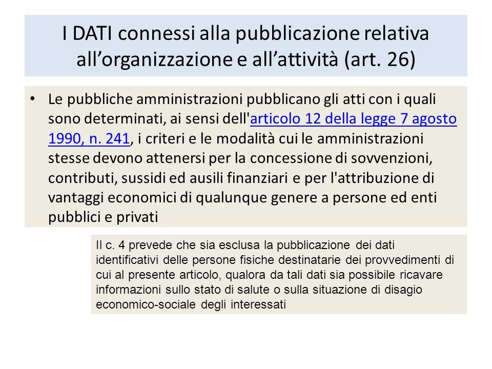 I DATI connessi alla pubblicazione relativa all'organizzazione e all'attività (art. 26)