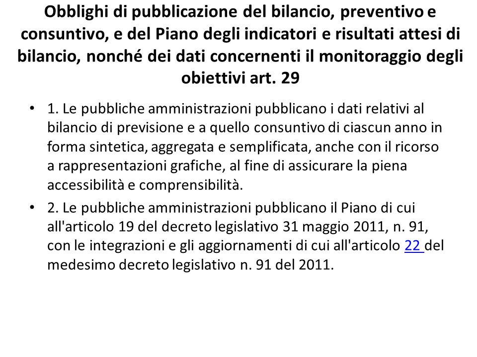 Obblighi di pubblicazione del bilancio, preventivo e consuntivo, e del Piano degli indicatori e risultati attesi di bilancio, nonché dei dati concernenti il monitoraggio degli obiettivi art. 29