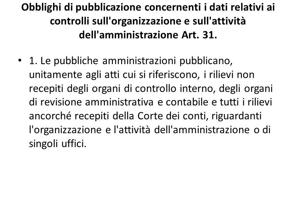 Obblighi di pubblicazione concernenti i dati relativi ai controlli sull organizzazione e sull attività dell amministrazione Art. 31.
