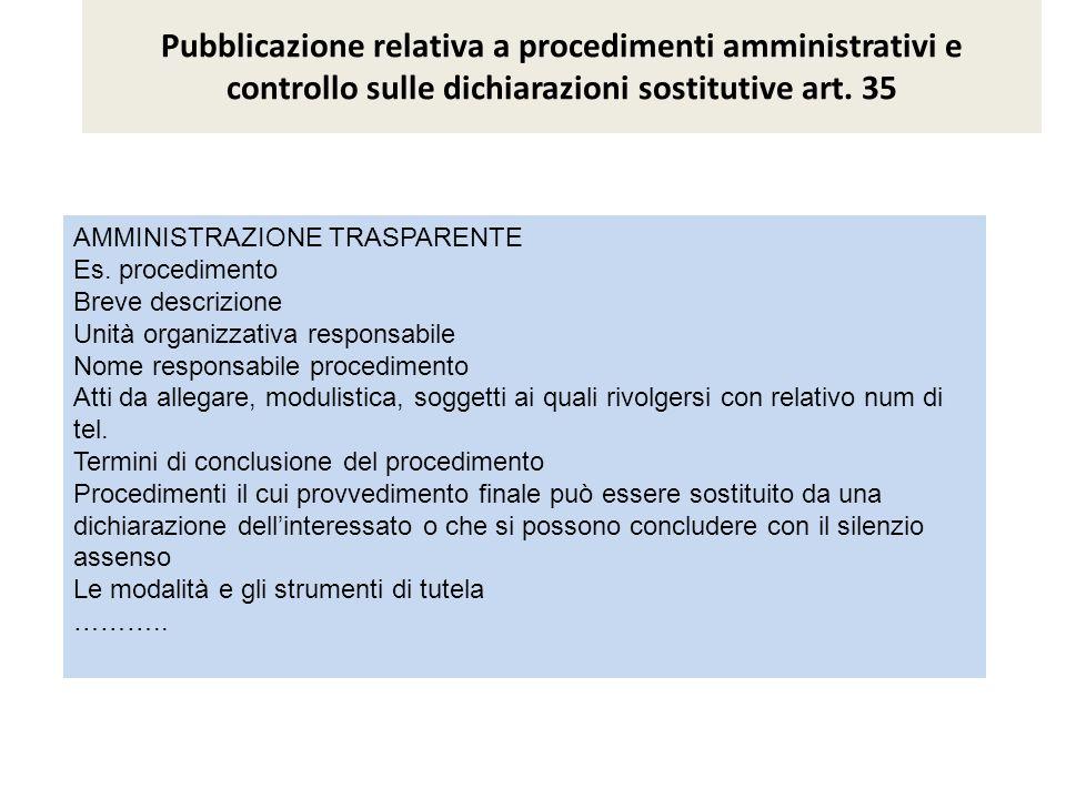 Pubblicazione relativa a procedimenti amministrativi e controllo sulle dichiarazioni sostitutive art. 35