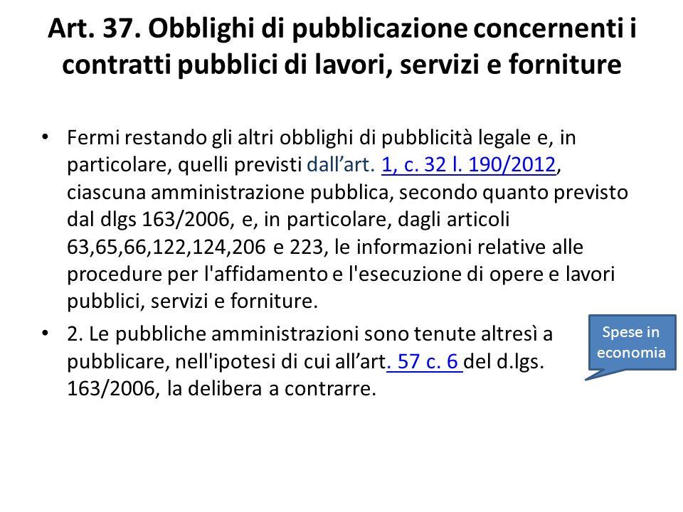 Art. 37. Obblighi di pubblicazione concernenti i contratti pubblici di lavori, servizi e forniture