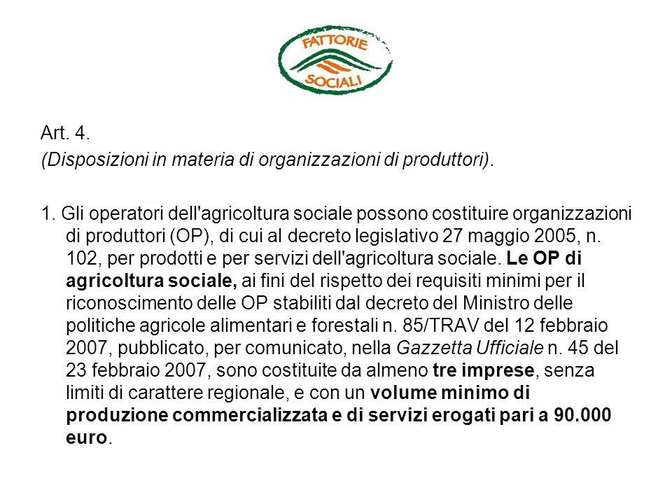 Art. 4. (Disposizioni in materia di organizzazioni di produttori).