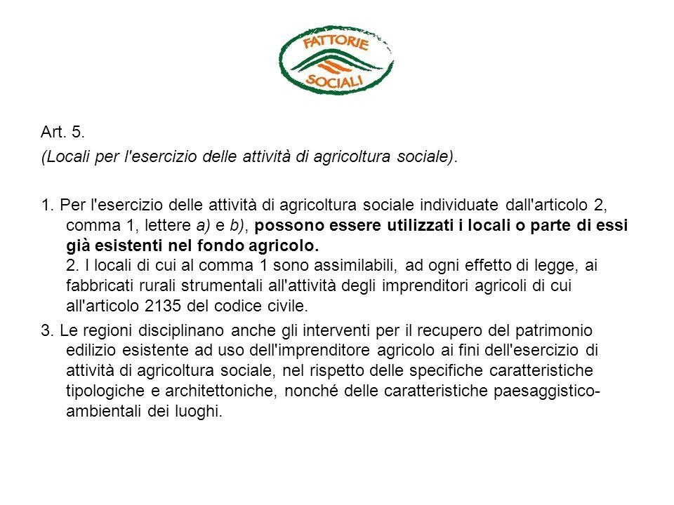 Art. 5. (Locali per l esercizio delle attività di agricoltura sociale).