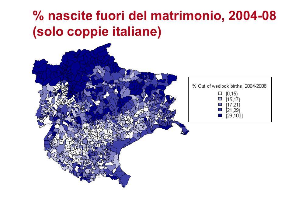 % nascite fuori del matrimonio, 2004-08