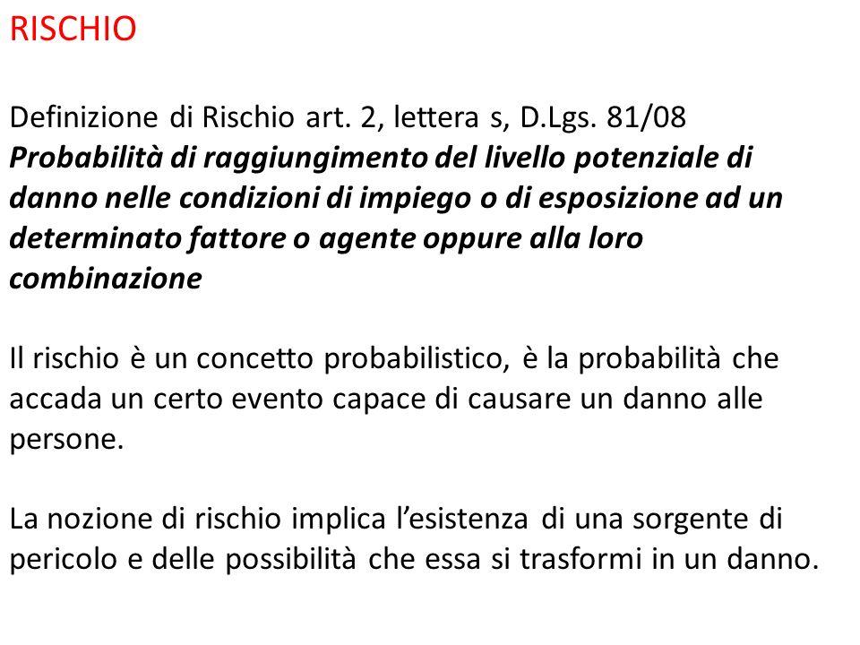 RISCHIO Definizione di Rischio art. 2, lettera s, D.Lgs. 81/08
