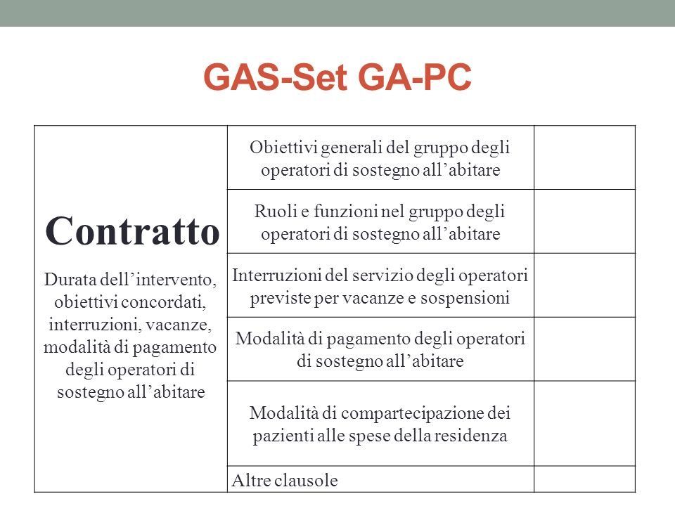 GAS-Set GA-PC Contratto.