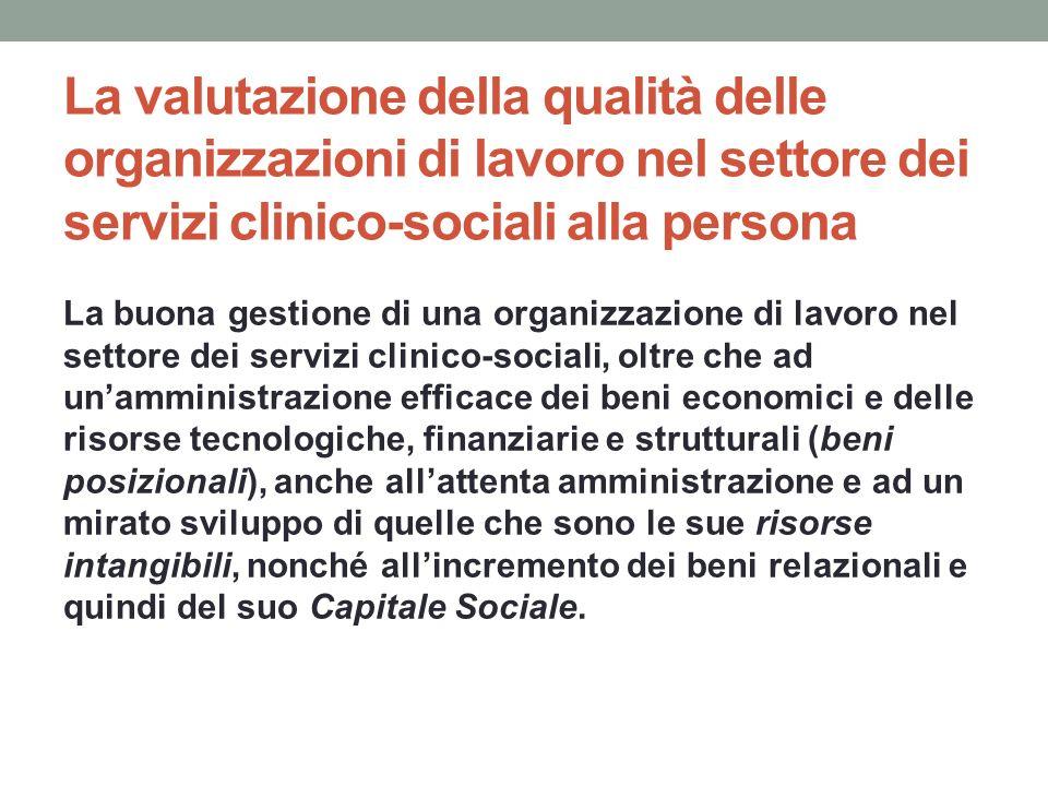 La valutazione della qualità delle organizzazioni di lavoro nel settore dei servizi clinico-sociali alla persona