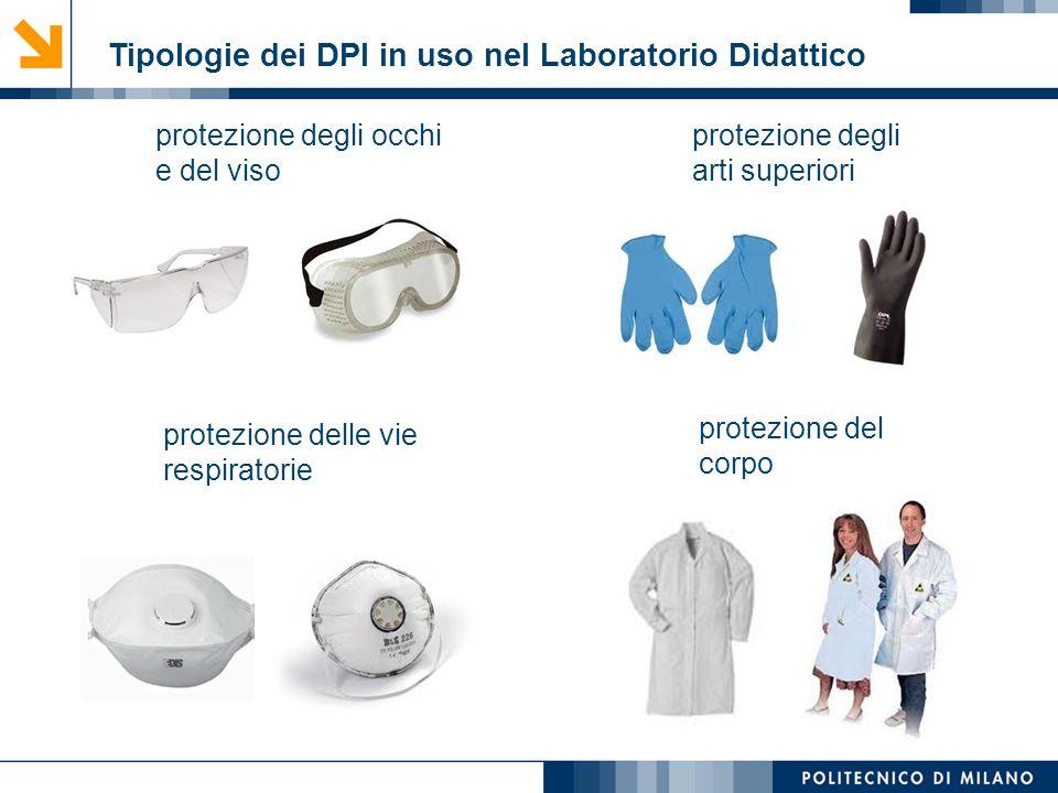 Tipologie dei DPI in uso nel Laboratorio Didattico