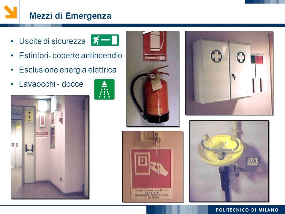 Mezzi di Emergenza Uscite di sicurezza Estintori- coperte antincendio