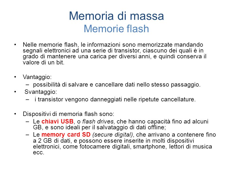 Memoria di massa Memorie flash