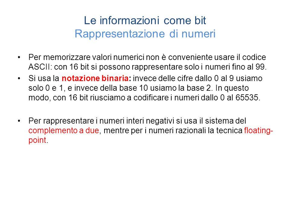 Le informazioni come bit Rappresentazione di numeri