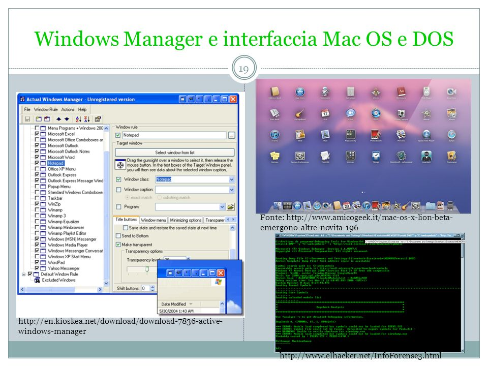 Windows Manager e interfaccia Mac OS e DOS
