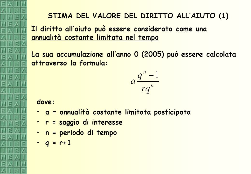 STIMA DEL VALORE DEL DIRITTO ALL'AIUTO (1)