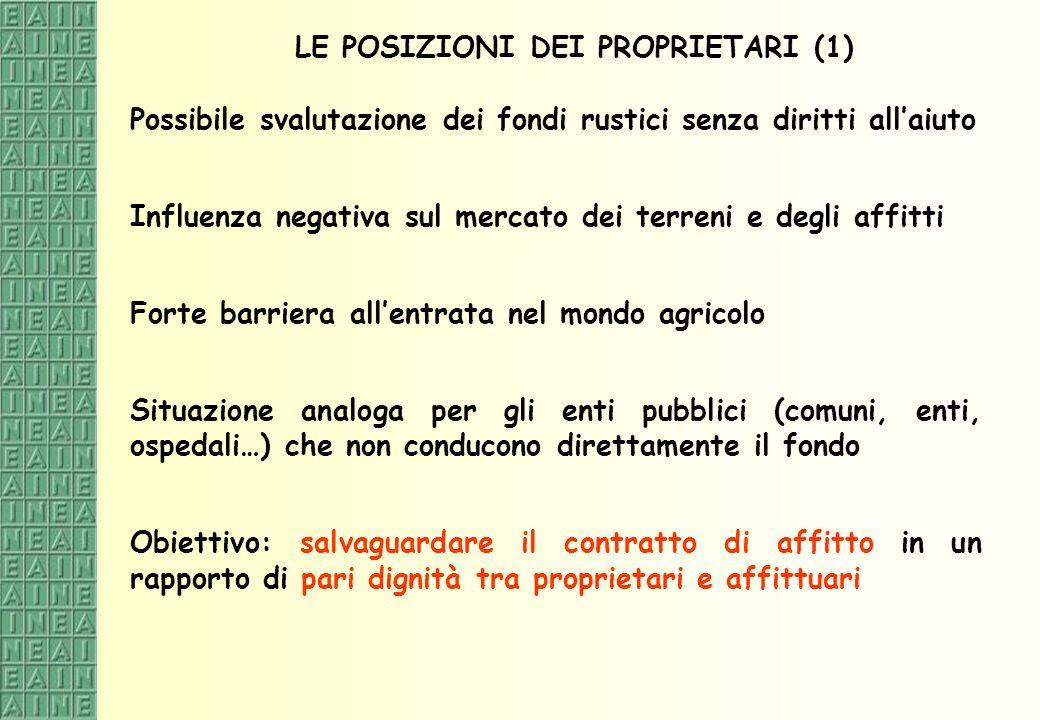LE POSIZIONI DEI PROPRIETARI (1)
