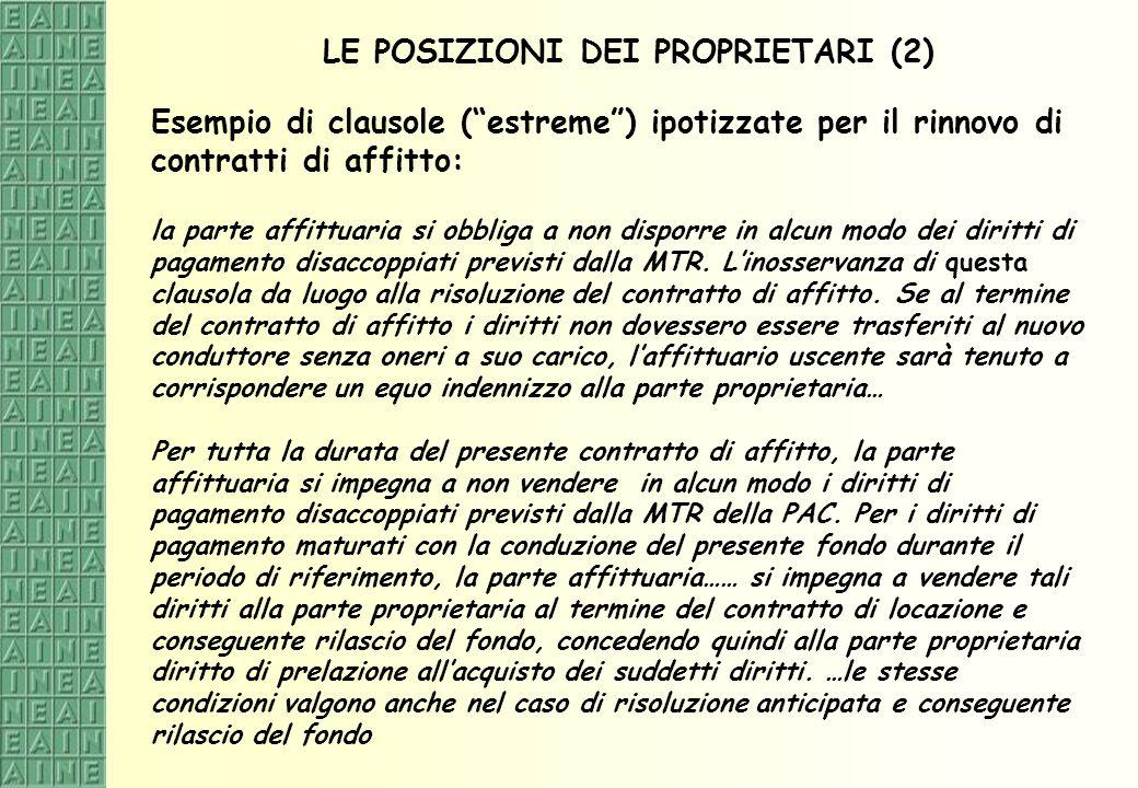 LE POSIZIONI DEI PROPRIETARI (2)