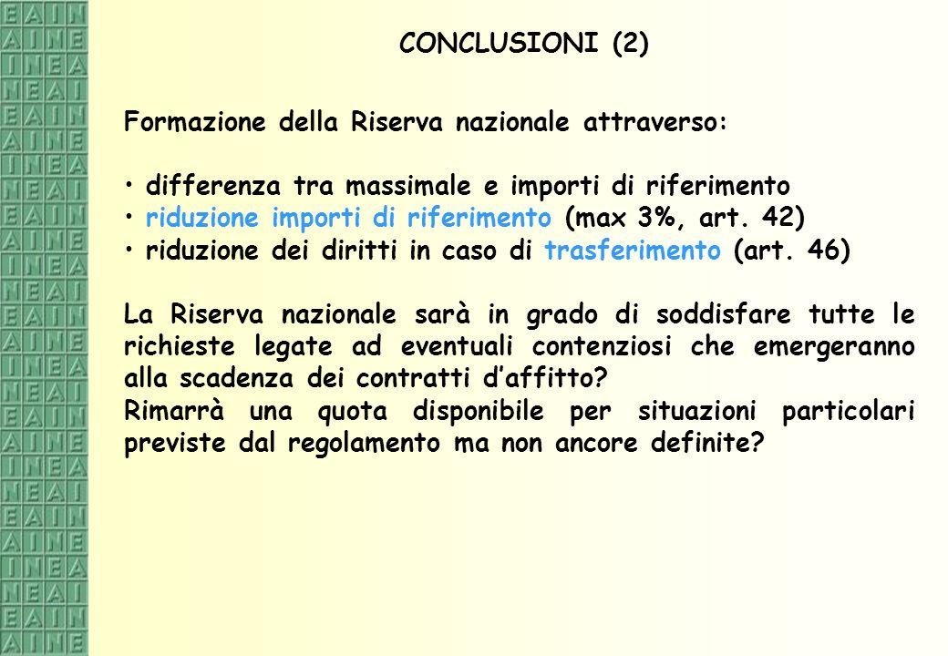 CONCLUSIONI (2) Formazione della Riserva nazionale attraverso: differenza tra massimale e importi di riferimento.