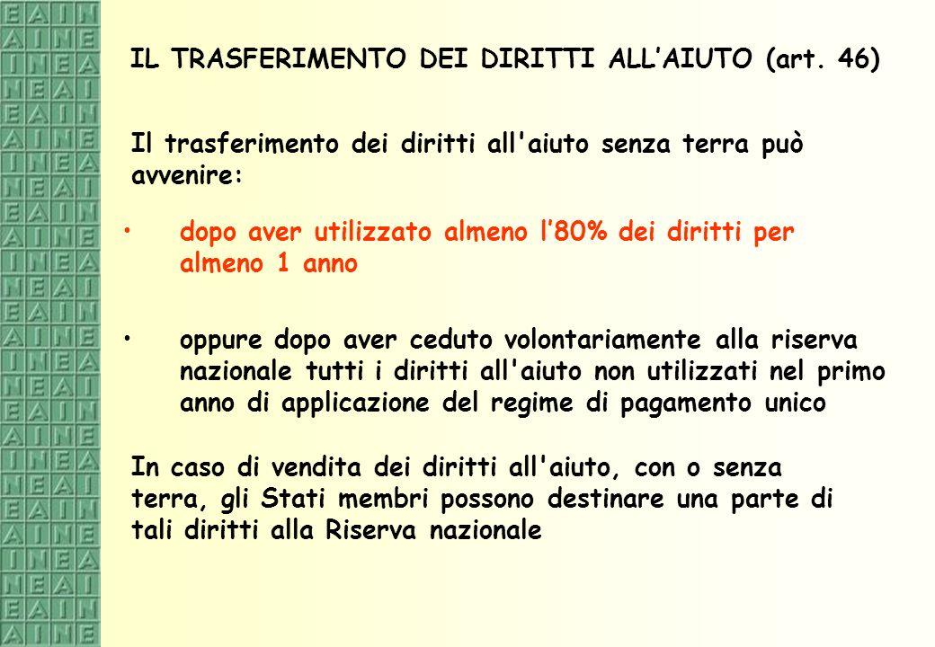 IL TRASFERIMENTO DEI DIRITTI ALL'AIUTO (art. 46)