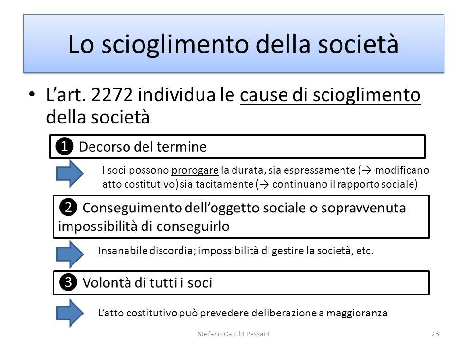Lo scioglimento della società